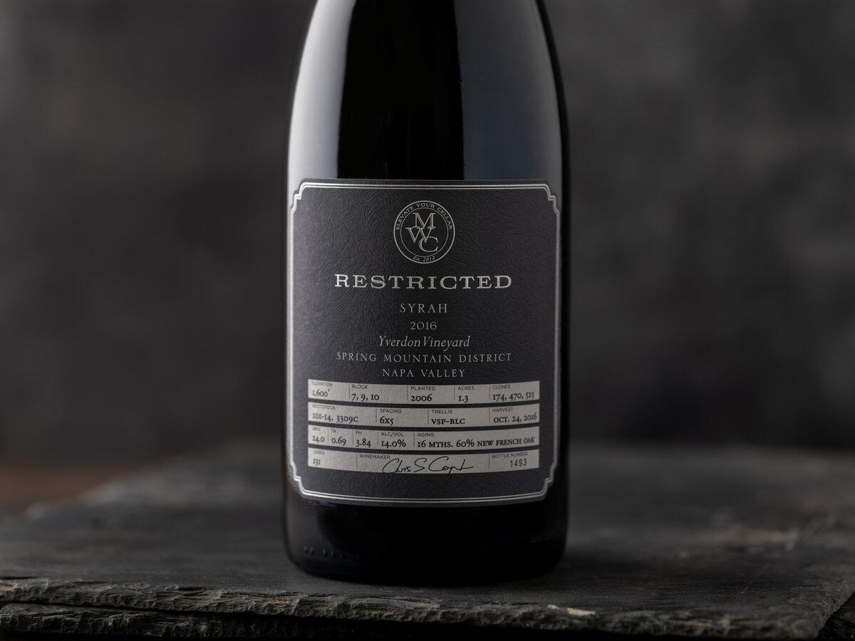 Restricted Wine bottle close up